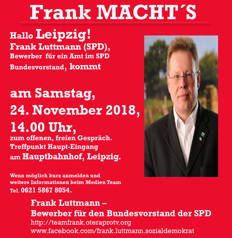 Frank Luttmann (SPD) kommt heute nach Leipzig