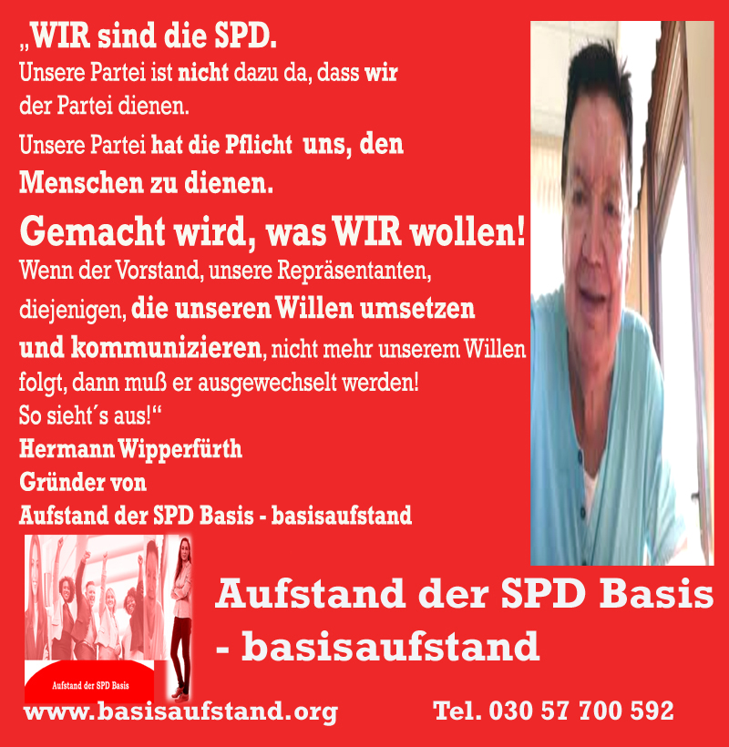 """Aufstand der SPD Basis: """"Wir sind die Partei"""" – Hermann Wipperfürth"""